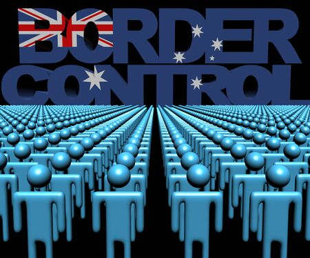 multitude: Border Control text with Australian flag and crowd of people illustration