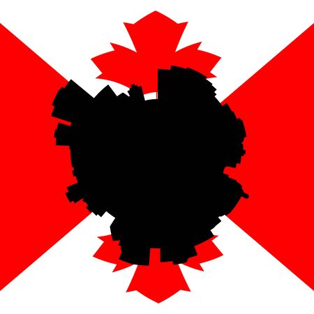 canadian flag: Edmonton circular skyline with Canadian flag illustration