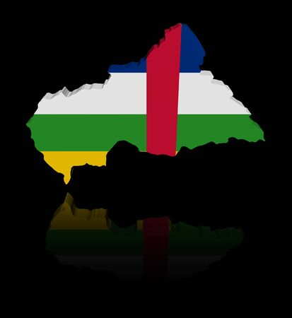 central african republic: Central African Republic map flag with reflection illustration