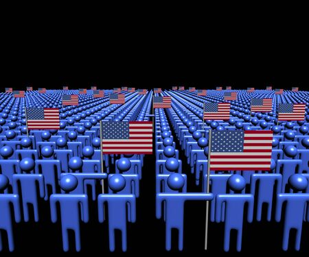 multitude: Crowd of abstract people with many American flags illustration Stock Photo