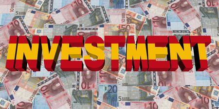 spanish flag: Investment text with Spanish flag on Euros illustration Stock Photo