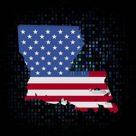hex: Louisiana map flag on hex code illustration Stock Photo