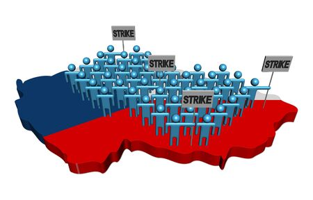 trade union: workers on strike on Czech map flag illustration