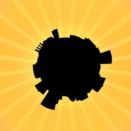 baltimore: Circular Baltimore skyline on sunburst illustration