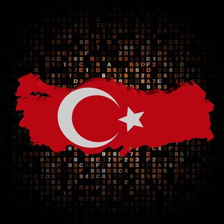 hex: Turkey map flag on hex code illustration