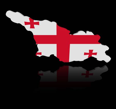 in reflection: Georgia map flag with reflection illustration