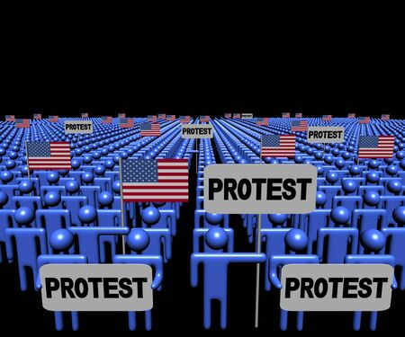demonstrate: Crowd of people with protest signs and American flags illustration
