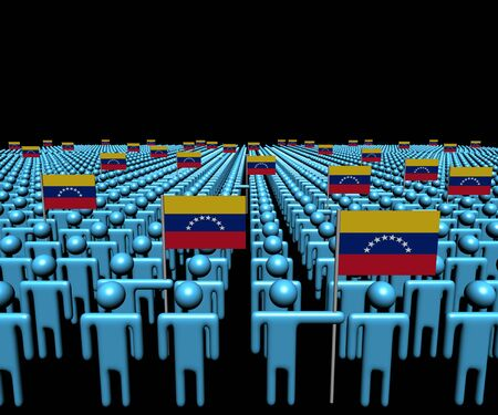 venezuelan: Crowd of abstract people with many Venezuelan flags illustration