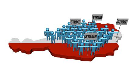 workers rights: workers on strike on Austria map flag illustration Stock Photo