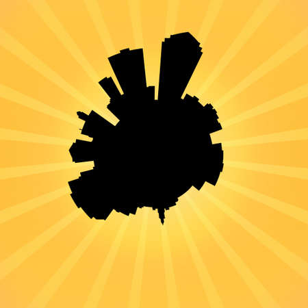 des: Circular Des Moines skyline on sunburst illustration Stock Photo