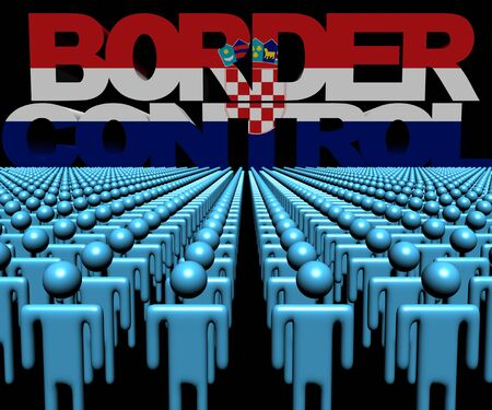 multitude: Border Control text with Croatian flag and crowd of people illustration