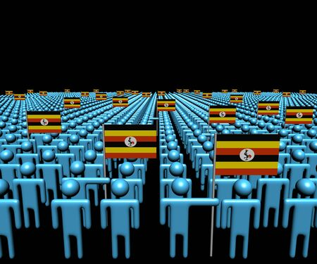 ugandan: Crowd of abstract people with many Ugandan flags illustration Stock Photo