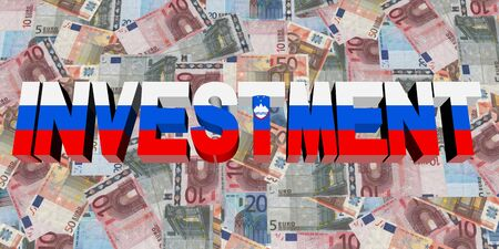 slovakian: Investment text with Slovakian flag on Euros illustration
