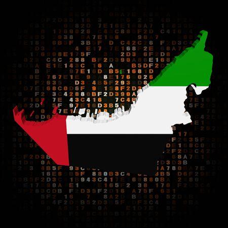 hex: UAE map flag on hex code illustration