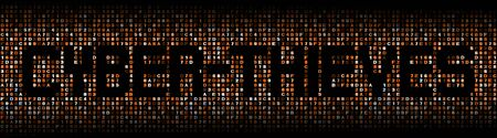 malicious software: Cyber thieves text on hex code illustration