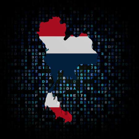 hex: Thailand map flag on hex code illustration