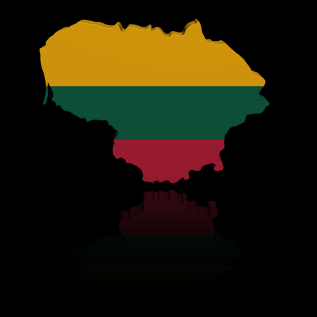 in reflection: Lithuania map flag with reflection illustration