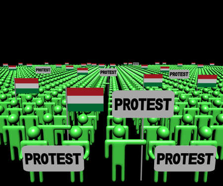protest signs: Crowd of people with protest signs and Hungarian flags illustration
