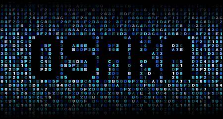 hex: Osaka text on hex code illustration