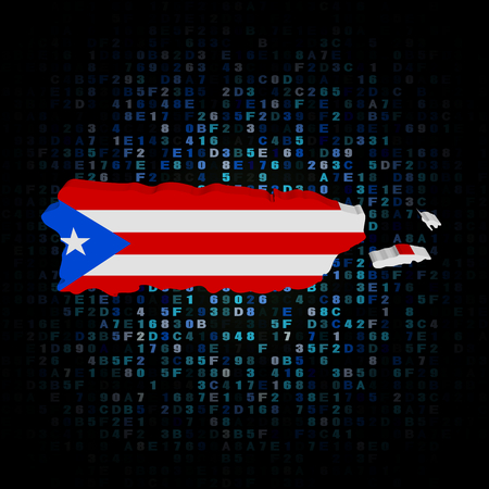 rican: Puerto Rico map flag on hex code illustration Stock Photo