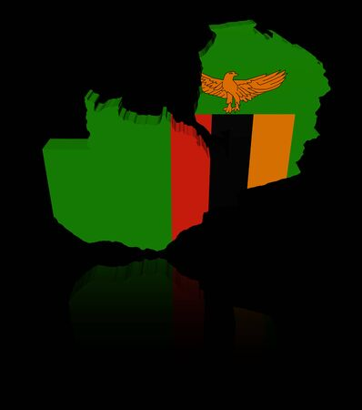in reflection: Zambia map flag with reflection illustration