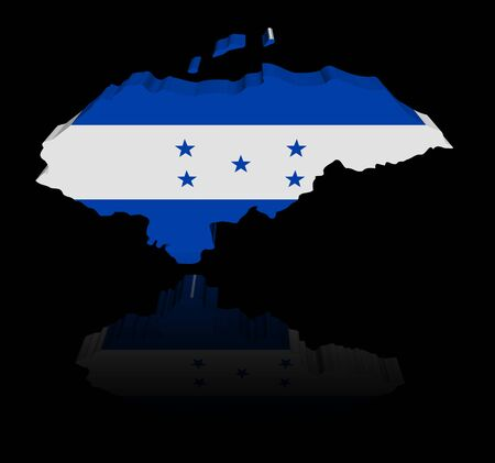 in reflection: Honduras map flag with reflection illustration Stock Photo