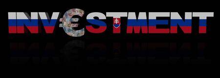 slovakian: Investment text with euro symbol and Slovakian flag illustration Stock Photo