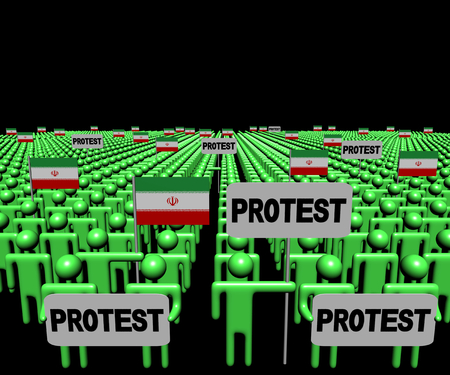demonstrate: Crowd of people with protest signs and Iranian flags illustration