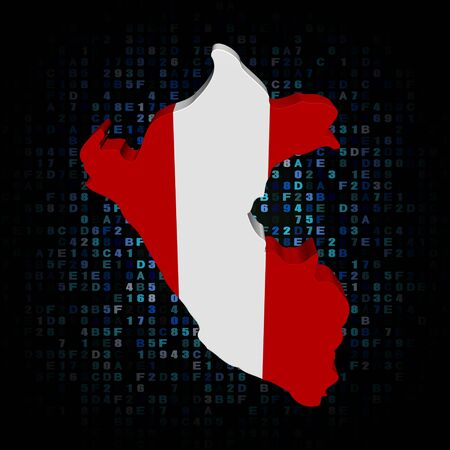 peruvian: Peru map flag on hex code illustration
