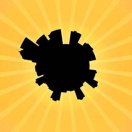 portland: Circular Portland skyline on sunburst illustration