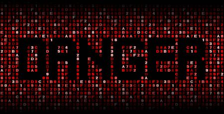 malicious software: Danger text on hex code illustration Stock Photo
