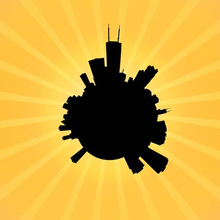 chicago skyline: Circular Chicago skyline on sunburst illustration
