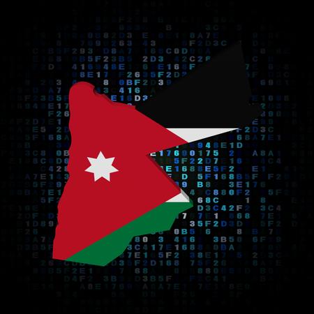 jordan: Jordan map flag on hex code illustration Stock Photo