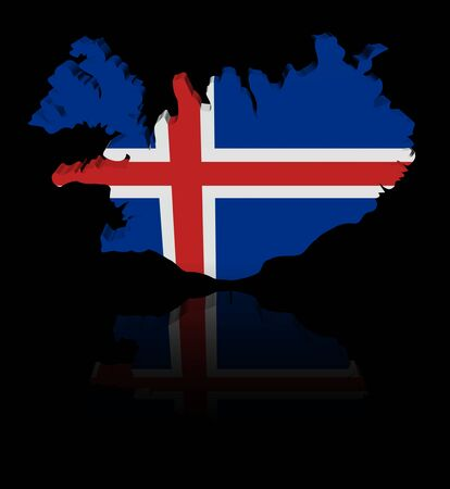 in reflection: Iceland map flag with reflection illustration