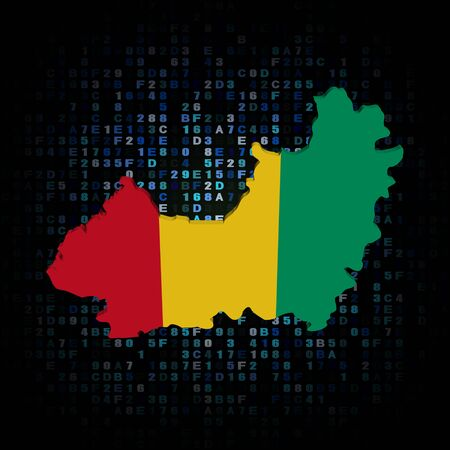 hex: Guinea map flag on hex code illustration Stock Photo