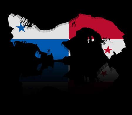 bandera de panama: Bandera de mapa de Panamá con la ilustración de la reflexión Foto de archivo