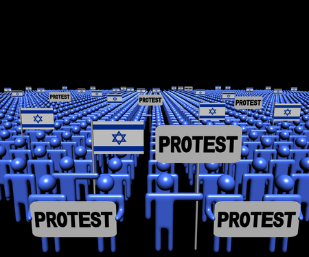 israeli: Crowd of people with protest signs and Israeli flags illustration Stock Photo