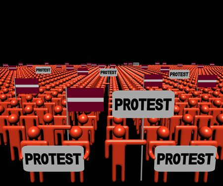 multitude: Crowd of people with protest signs and Latvian flags illustration