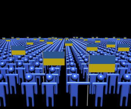 multitude: Crowd of abstract people with many Ukraine flags illustration Stock Photo