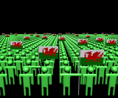 welsh flag: Crowd of abstract people with many Welsh flags illustration