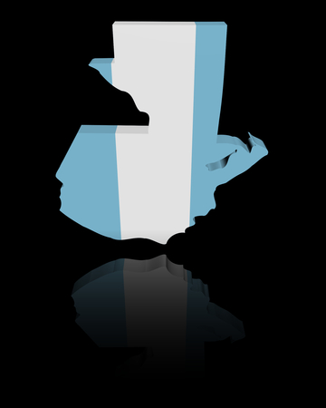 in reflection: Guatemala map flag with reflection illustration
