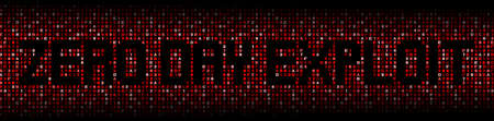 malicious software: Zero Day Exploit text on hex code illustration