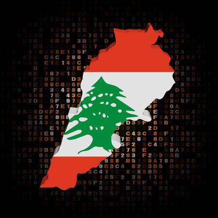 hex: Lebanon map flag on hex code illustration
