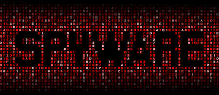 insecure: Spyware text on hex code illustration Stock Photo
