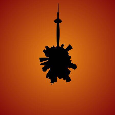 toronto: Toronto circular skyline sunset illustration