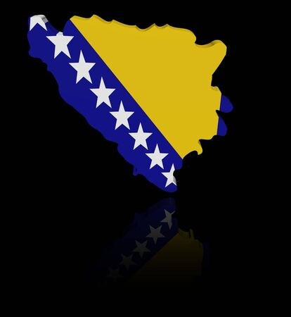 in reflection: Bosnia map flag with reflection illustration Stock Photo
