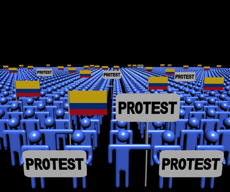 protest signs: Crowd of people with protest signs and Colombian flags illustration