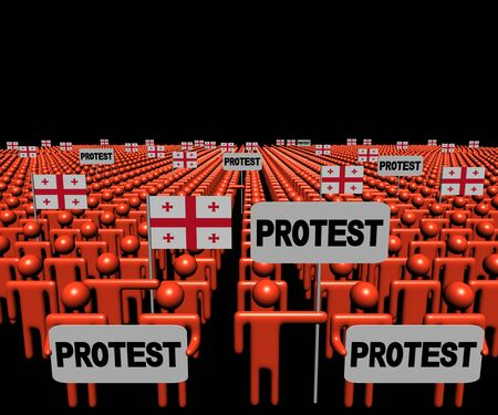 protest signs: Crowd of people with protest signs and Georgian flags illustration