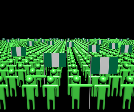 multitude: Crowd of abstract people with many Nigerian flags illustration