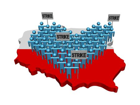 demonstrate: workers on strike on Poland map flag illustration
